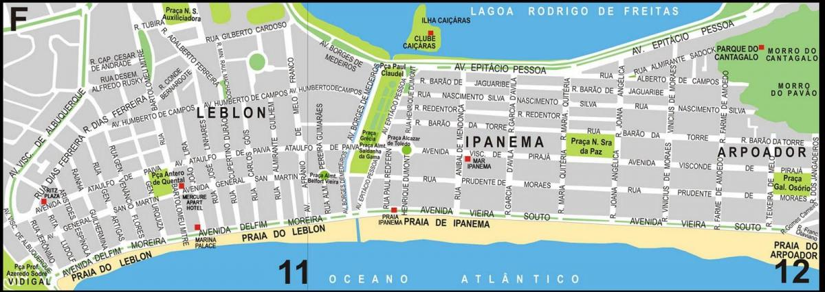Mapa Ipanema beach