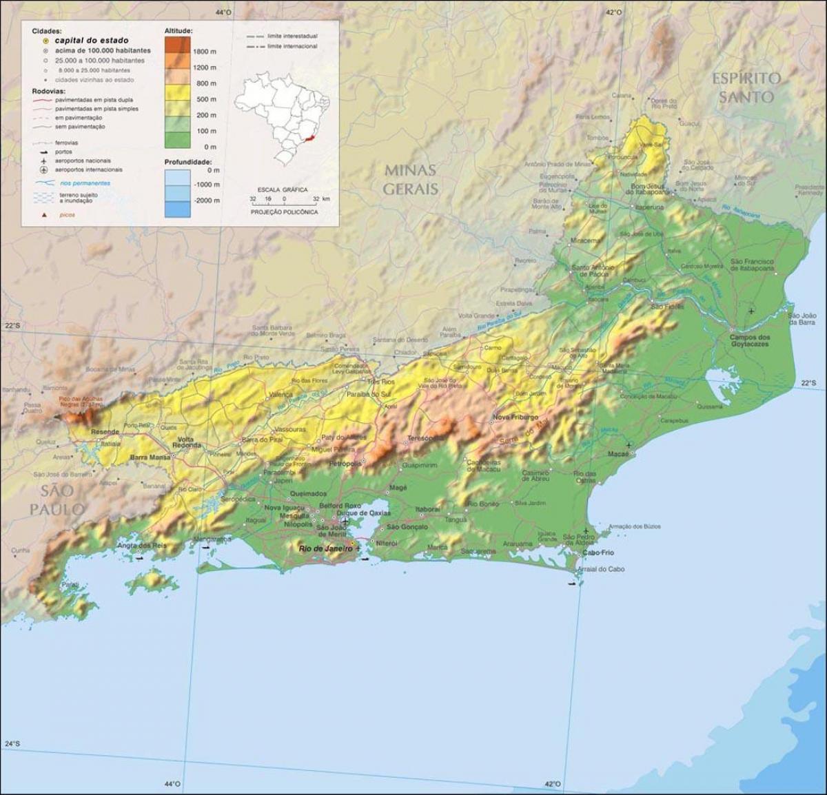 Nadmorska Vyska Rio De Janeiro Mapa Mapa Nadmorske Vysky Rio De